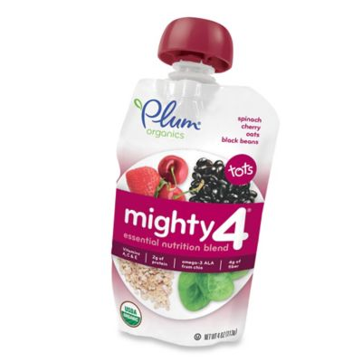Food > Plum Organics® Tots Mighty 4™ 4 oz. Spinach, Cherry, Oats, Black Beans Nutrition Blend