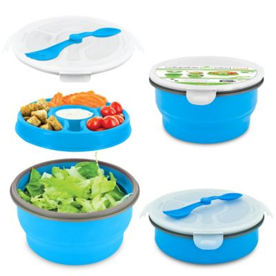 SmartPlanet Eco Collapsible Salad Bowl Deluxe Meal Kit in Blue/Green