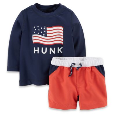 "Carter's® Newborn 2-Piece American Flag ""Hunk"" Long Sleeve Rashguard Set in Navy/Red"