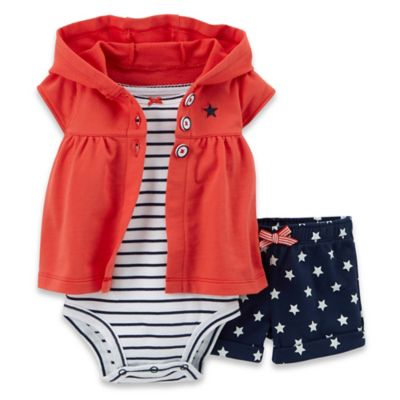 Carter's® 3-Piece Stars & Stripes Cardigan, Bodysuit, and Short Set in Navy/Red