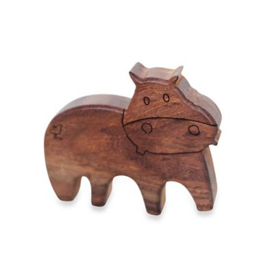 Finn + Emma® Organic Henry the Hippo Wood Rattle Teether