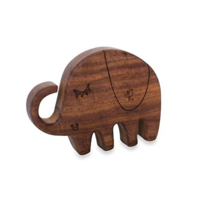 Finn + Emma® Organic Piper the Elephant Wood Rattle Teether