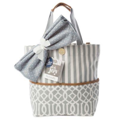Mud Pie Bundle of Joy Big Bundle On-the-Go Tote Diaper Bag in Grey
