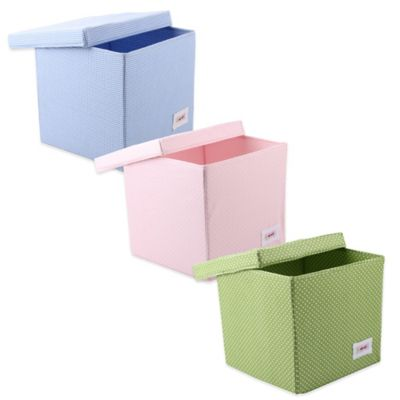 Minene Squares Pattern Square Storage Box in Blue