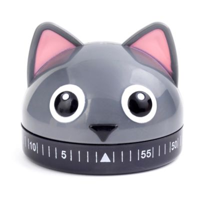 Kikkerland® Cat Kitchen Timer in Grey