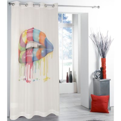 Tag City 84-Inch Drippy Multicolor Lips Print Sheer Window Curtain Panel in White