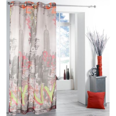 New York New York Grommet Top 84-Inch Window Curtain Panel