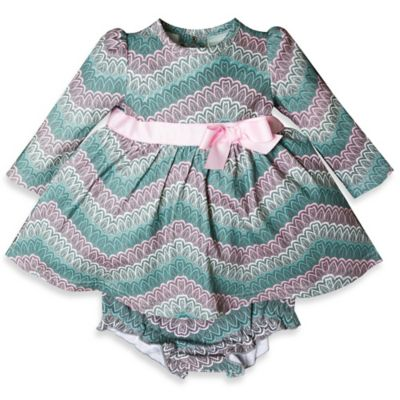 Wendy Bellissimo™ Size 6M 2-Piece Feather Print Dress and Diaper Cover Set in Grey/Pink