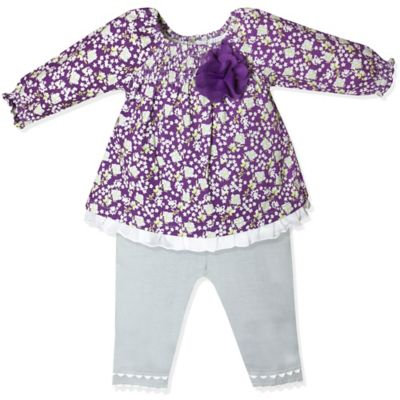 Wendy Bellissimo™ Size 9M 2-Piece Ruffled Floral Top and Legging Set in Purple/Grey