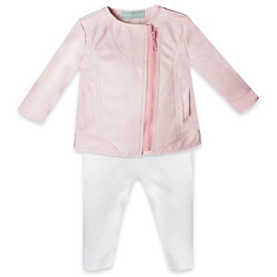 Wendy Bellissimo™ Size 6M 2-Piece Vegan Leather Jacket and Pant Set in Pink/Grey