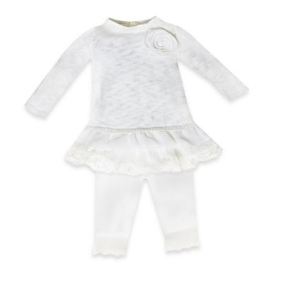 Wendy Bellissimo™ Size 0-3M 2-Piece Lace-Trimmed Sweater and Pant Set in Ivory