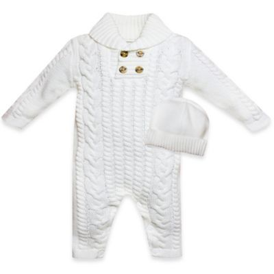 Wendy Bellissimo™ Size 3-6M 2-Piece Sweater Knit Coverall and Watch Cap in Ivory