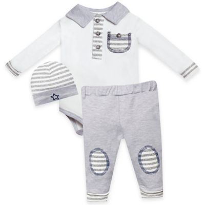 Wendy Bellissimo™ Size 0-3M 3-Piece Striped Bodysuit, Hat, and Polo Pant Set in Ivory