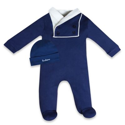 Wendy Bellissimo™ Size 0-3M 2-Piece Footie and Cap Set in Navy