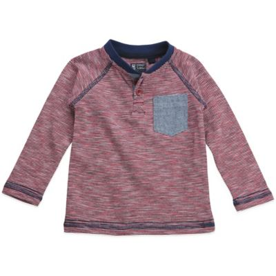 No Retreat Size 3-6M Yarn-Dye Henley Shirt in Red