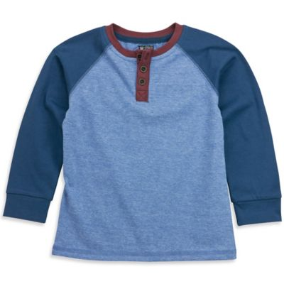 No Retreat™ Size 3-6M Color Block Henley Shirt in Blue/Red
