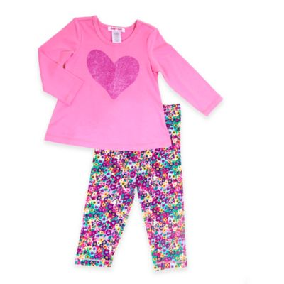 Baby Nay® Size 3T 2-Piece Ditsy Floral Delight Glitter Heart Top and Legging Set in Pink