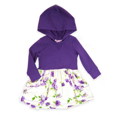 Baby Nay® Size 12M Enchanted Garden Hooded Pocket Dress in Purple/White