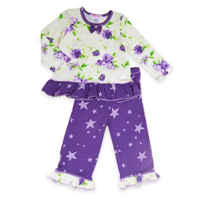 Baby Nay® Size 4T Enchanted Garden 2-Piece Ruffle Top and Pant Set in Purple/White