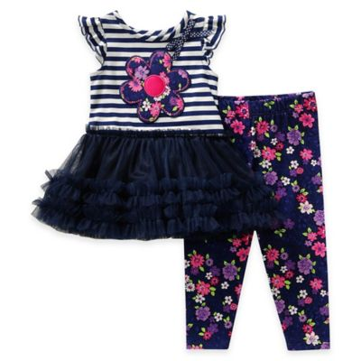 Sweet Heart Rose® Size 9M 2-Piece Flutter Sleeve Top and Legging Set in Navy/Pink