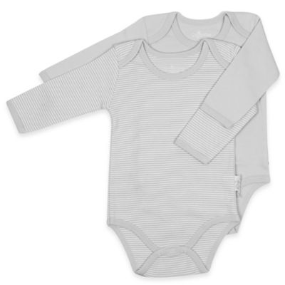 Tadpoles Size 0-3M 2-Pack Organic Cotton Bodysuits in Grey