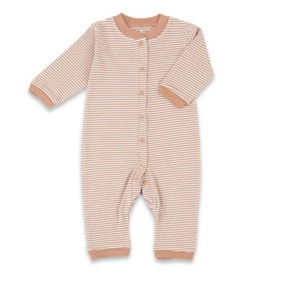 Tadpoles Size 6-9M Organic Cotton Footless Snap-Front Romper in Cocoa