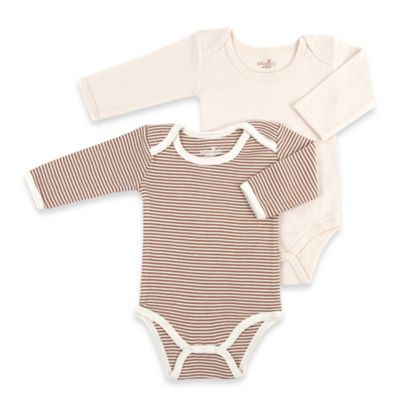 Tadpoles Size 0-3M 2-Pack Organic Cotton Bodysuits in Cocoa