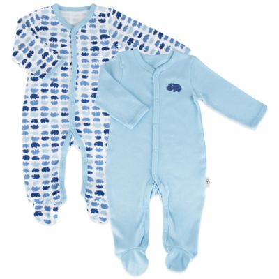 Tadpoles Mod Zoo Size 0-6M 2-Pack Snap-Front Footie in Blue Hippo