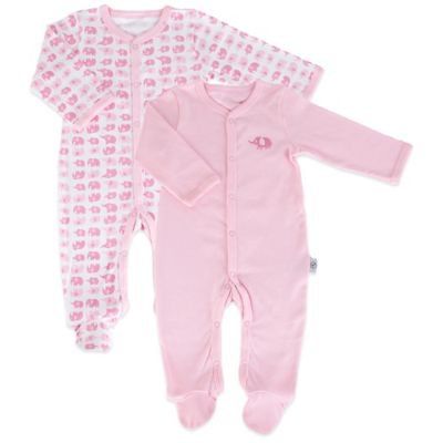 Tadpoles Mod Zoo Size 6-12M 2-Pack Snap-Front Footie in Pink Elephant