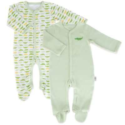 Tadpoles Mod Zoo Size 0-6M 2-Pack Snap Front Footie in Green Gator