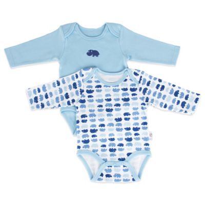 Tadpoles Mod Zoo Size 0-6M 2-Pack Long Sleeve Bodysuit in Blue Hippo