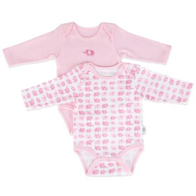 Tadpoles Mod Zoo Size 0-6M 2-Pack Long Sleeve Bodysuit in Pink Elephant