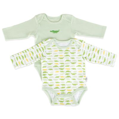 Tadpoles Mod Zoo Size 0-6M 2-Pack Long Sleeve Bodysuit in Green