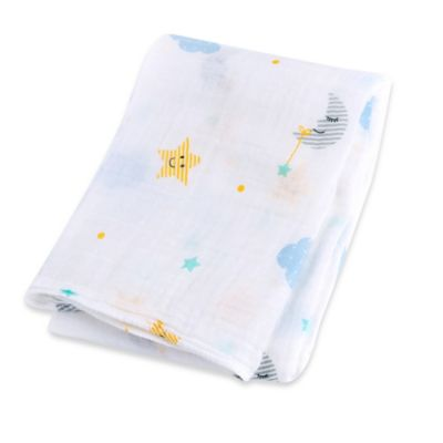 Lulujo Baby Dream Muslin Swaddle Blanket in White