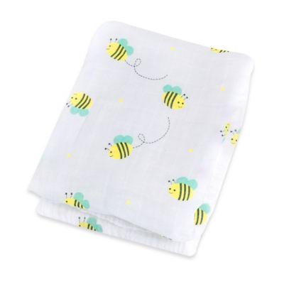 Lulujo Baby Bumblebee Muslin Swaddle Blanket in White