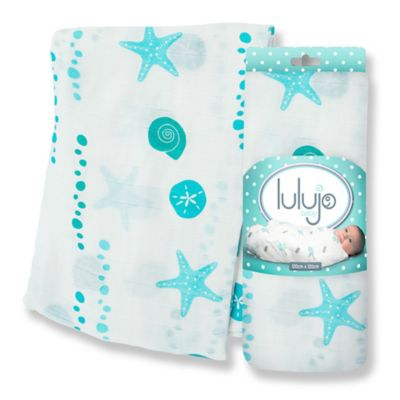 Lulujo Baby Sea Muslin Swaddle Blanket in White