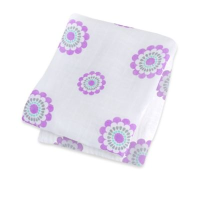 Lulujo Baby Bamboo Swaddle Blanket in White