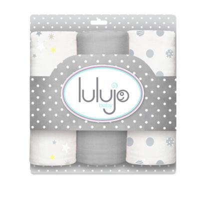 Lulujo Baby Mini Muslin 3-Pack Blanket Set in Grey
