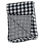 Lulujo Baby Checkered Muslin Swaddle Blanket in Navy