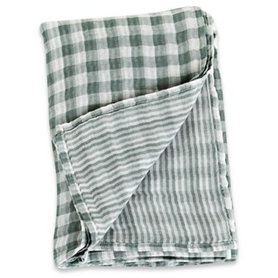 Lulujo Baby Checkered Muslin Swaddle Blanket in Grey