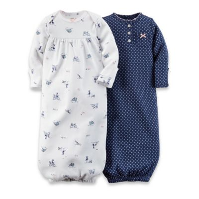 Carter's® Newborn 2-Pack Bike/Star Gowns in Navy/White/Pink