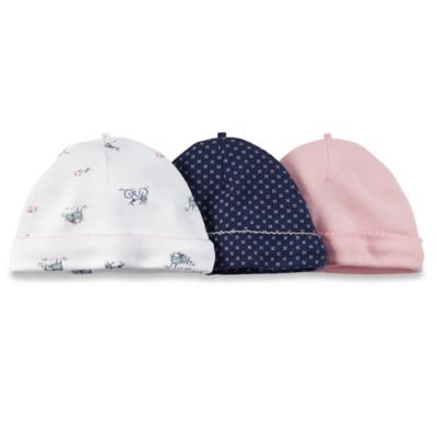 Carter's® Size 0-3M 3-Pack Print/Solid Cap in Pink/Navy