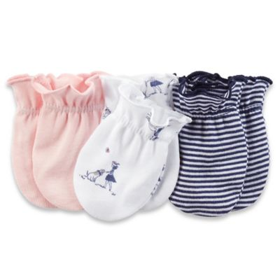 Carter's® 3-Pack Mittens in Pink/Navy/White