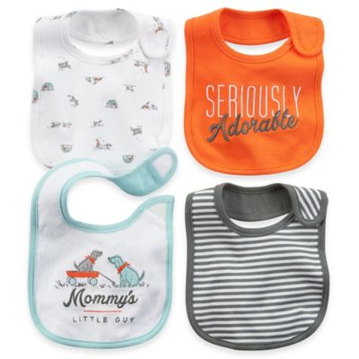 Carter's® 4-Pack Bib in Light Blue/Grey/Orange