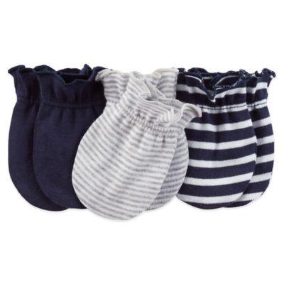 Carter's® 3-Pack Mittens in Navy/Grey Stripe/Navy Stripe