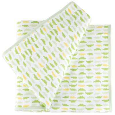 Tadpoles Mod Zoo Receiving Blanket in Green Gator