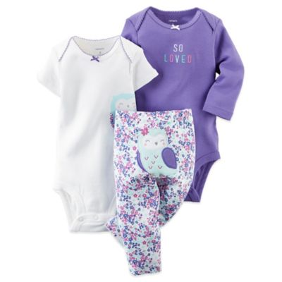 Carter's® Preemie 3-Piece Owl Bodysuits and Pant Set in Purple