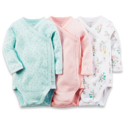 carter's® Preemie 3-Pack Side Snap Long Sleeve Bodysuits in Aqua/Pink/White