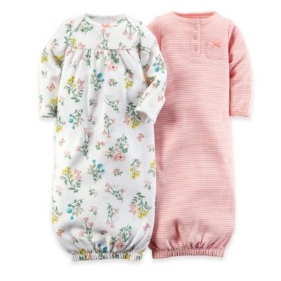 Carter's® Preemie 2-Pack Floral Gowns in Pink/White
