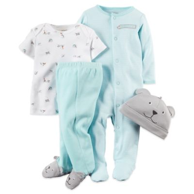 "Carter's® Preemie 4-Piece ""Mommy's Little Guy"" T-Shirt, Pant, Footie, and Hat Set in Light Blue"